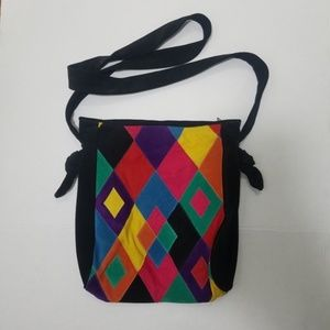 suede patchwork hobo bag one of a kind unique